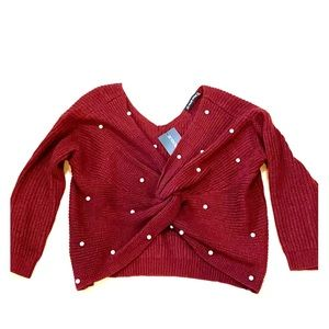 Haute Rogue pear V Neck pearl sweater